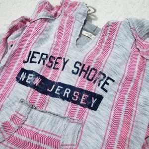 Jersey Shore Hoodie Sweatshirt Pink Stripes